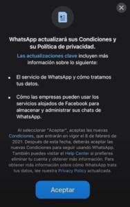 Pop-up actualización WhastsApp - WeLoveWebs